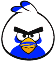 Blue and w bird fr