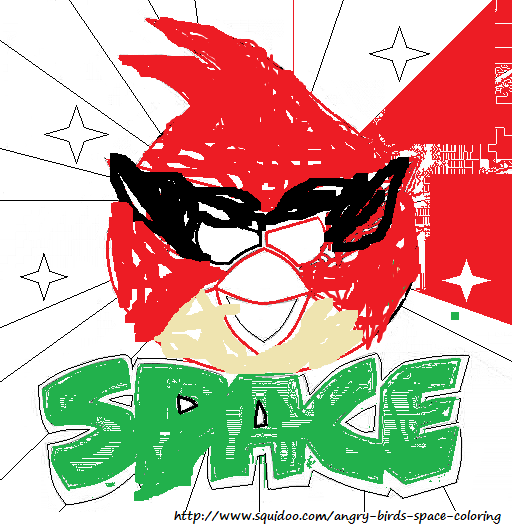 Angry Birds Space Coloring Pages Red Bird I2