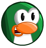 Angry green penguin