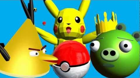 POKEMON starring Angry Birds ♫ 3D animated game mashup spoof ☺ FunVideoTV - Style;-))