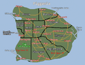 Piggania with states, highways, cities, and geographical features