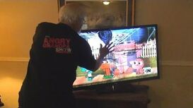 ANGRY GRANDPA SMASHES HDTV!