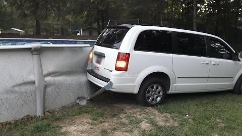 ANGRY GRANDPA DRIVES INTO SWIMMING POOL!!