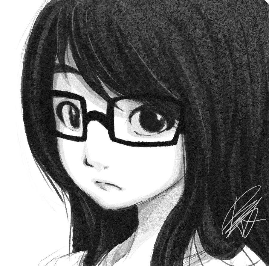 Anime Girl With Glasses Sketch Anime