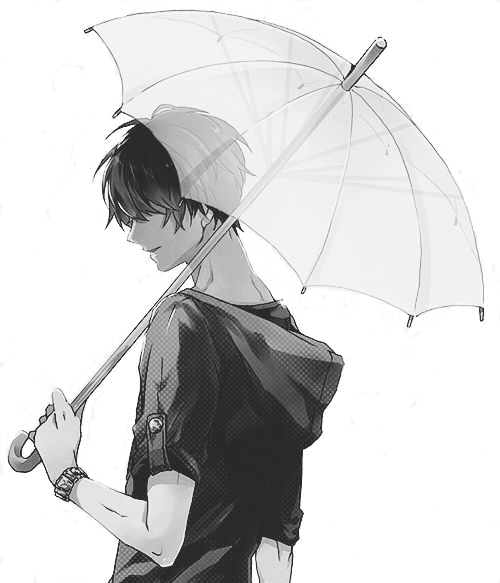 Monochrome Anime Guy Holding An Umbrella Render By Lcookies D8ide6i