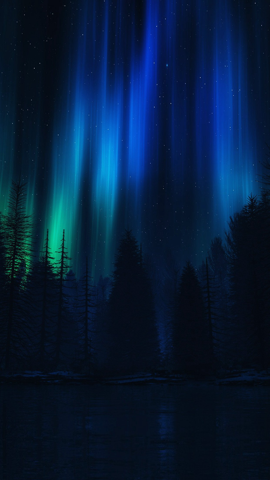 Aurora Night Sky Dark Blue Nature Art Iphone 6 Wallpaper Ilikewallpaper Com