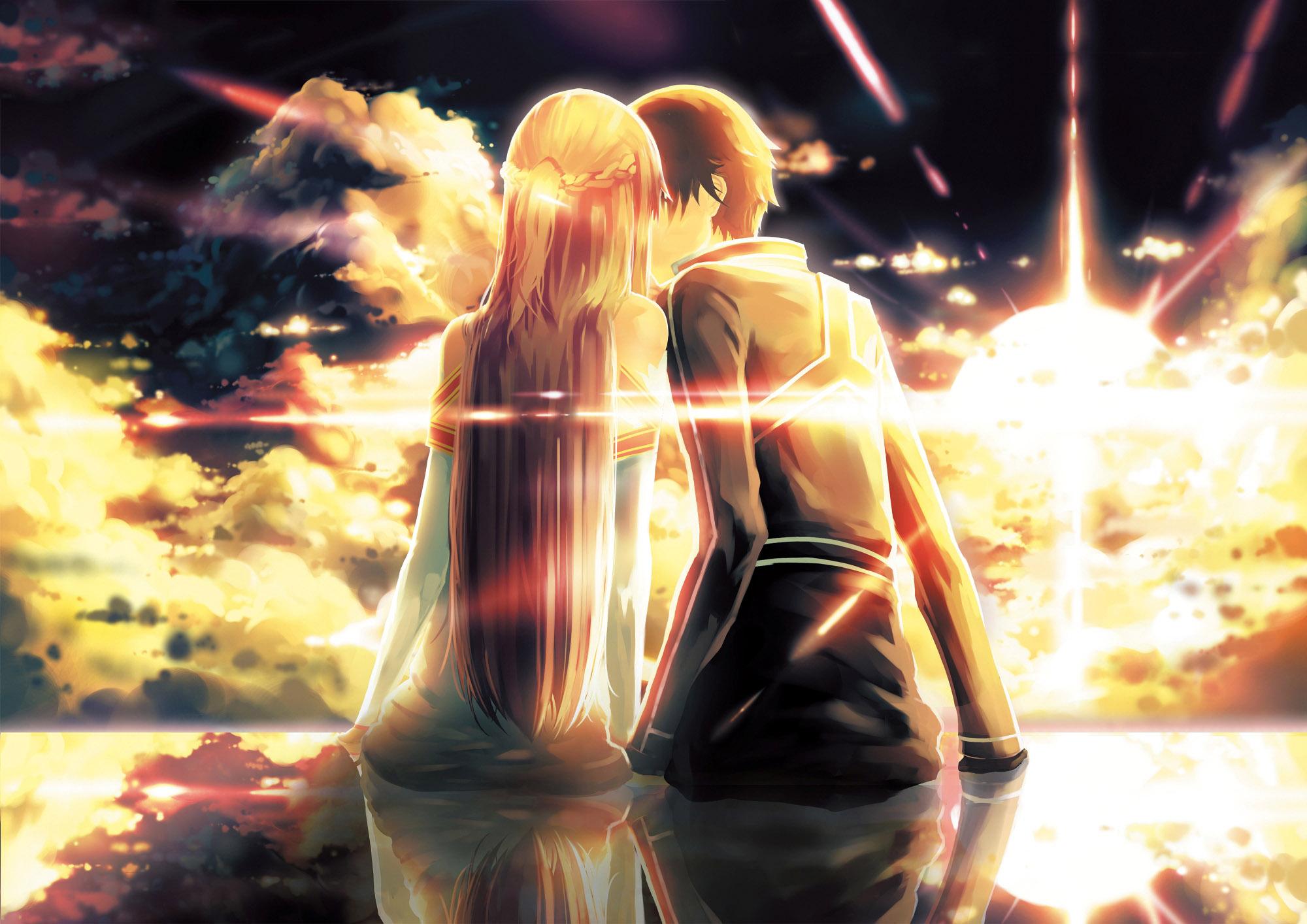 Anime couple love kissing wallpaper jpg