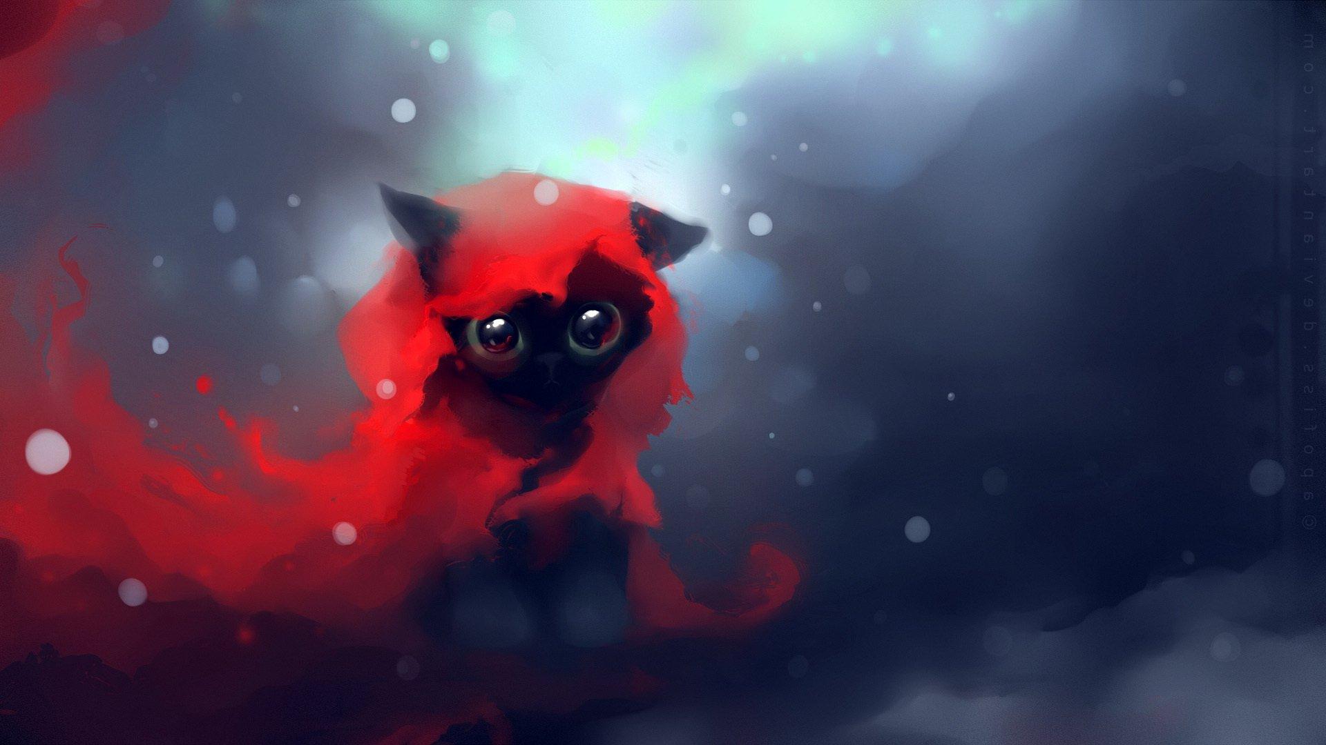 Cat Apofiss Cute Black Speed Painting Wallpaper Cartoon Kittens Heart Anime Original Images Touching Cuties