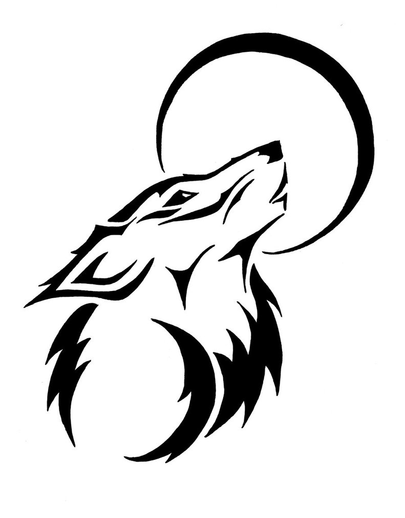 Line Drawing Moon : Image tribal wolf moon clipart g animal jam clans