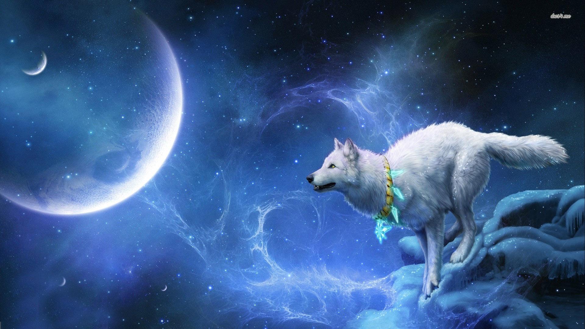 13825 Wolf In Space 1920x1080 Digital Art Wallpaper