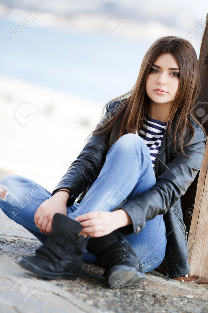 Image 36877979 Beautiful Young Girl Caucasian Appearance With Dark