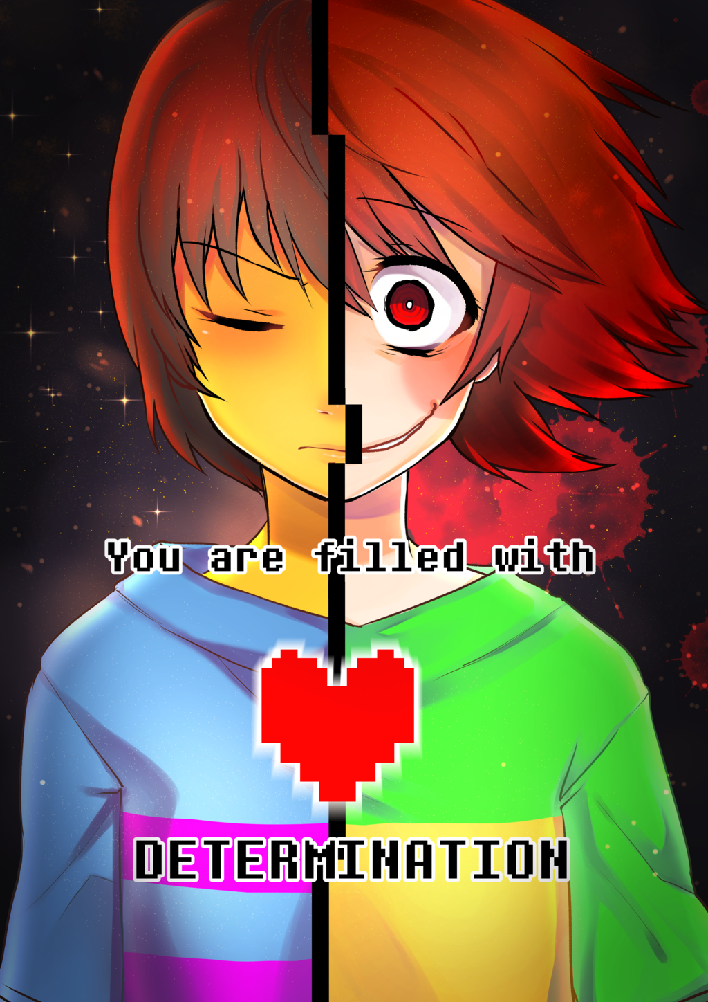 image determination chara and frisk undertale by maryryn nya