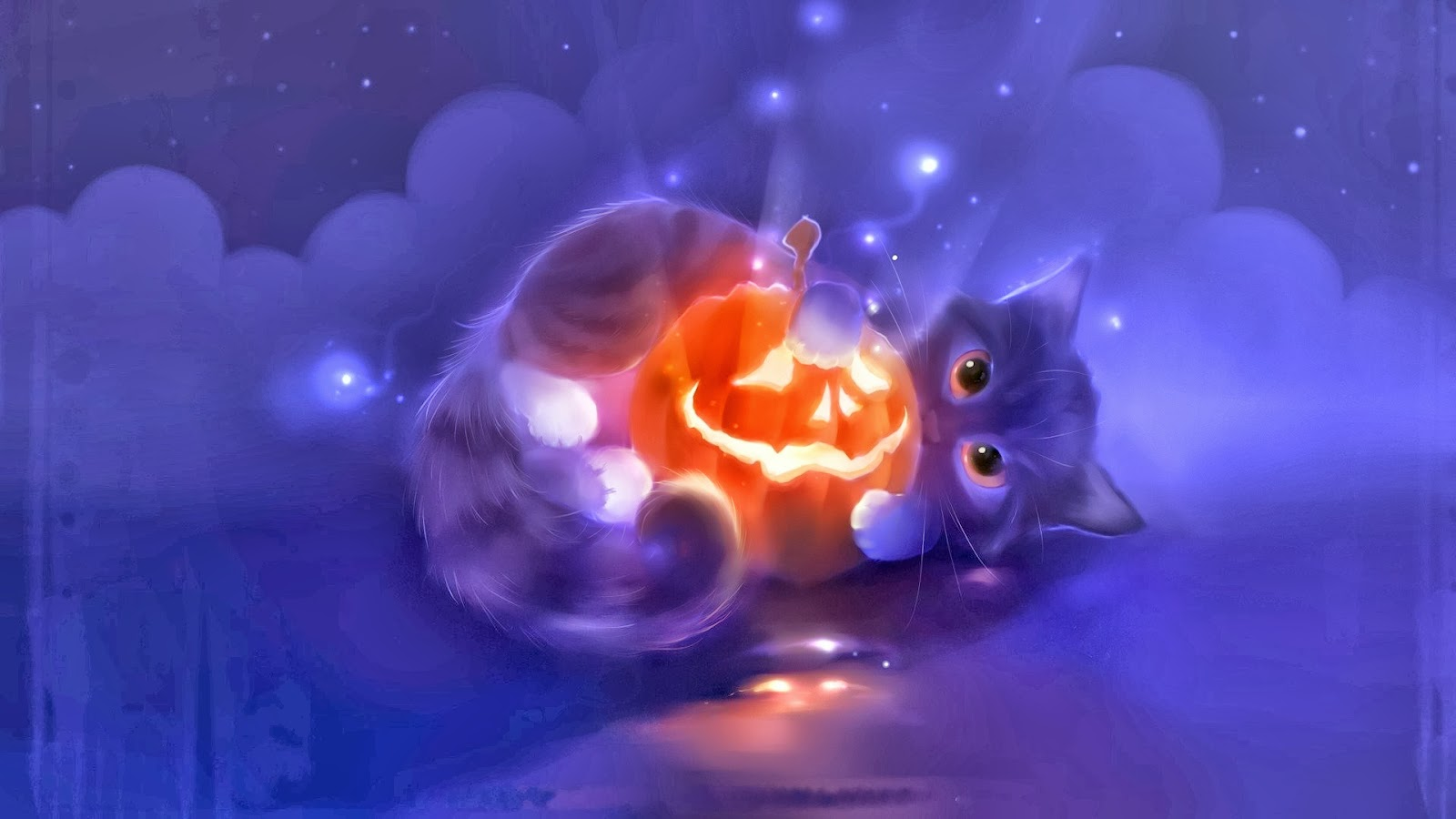 Halloween Cute Pumpkin Head Cat Holiday Hd Wallpaper