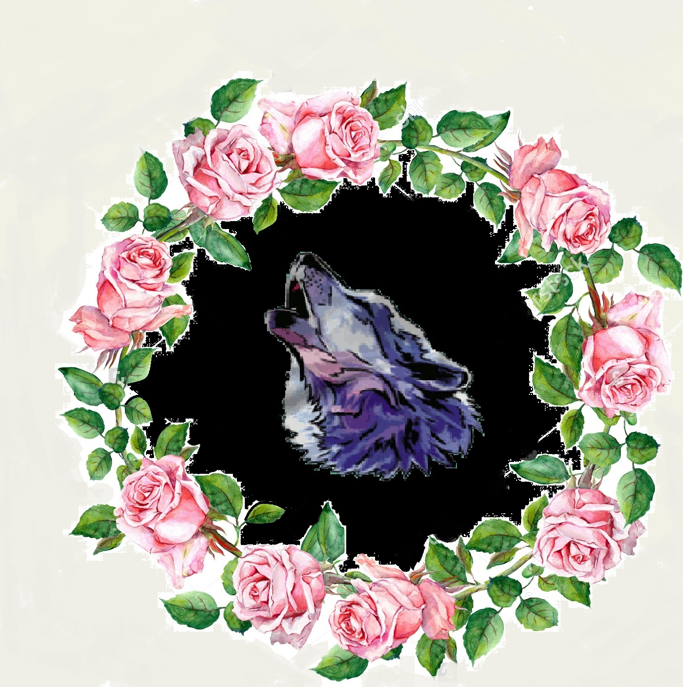 655373225 Stock Photo Rose Flower Wreath Floral Circle Border Watercolor 225081601
