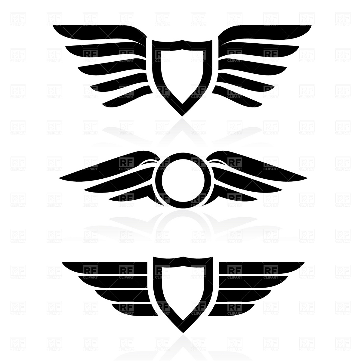 image shield with wings symbol download royalty free vector file