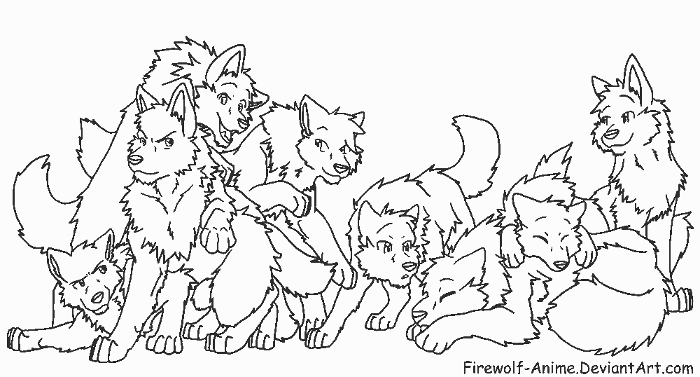 Anime Wolf Friends Coloring Pages Clipart Library