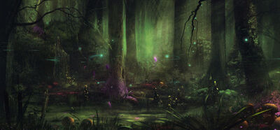 1600x742 7119 Fairytale swamp 2d landscape magic matte painting swamp fairytale fantasy forest picture image digital art