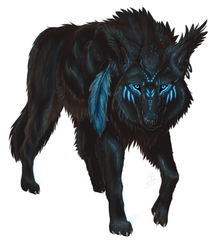 File:Oc commission tribal wolf by seraphic a-d8yc7pg.png