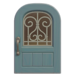 NH-House Customization-pale-blue iron grill door (round)