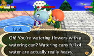 Tank Points Out to the Player Holding a Watering Can