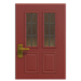 NH-House Customization-red vertical-panes door (square)