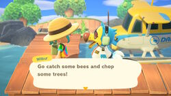 NH-screenshot-Wilbur greeting the player to the mystery island