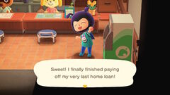 Last home loan payment message in Animal Crossing New Horizons