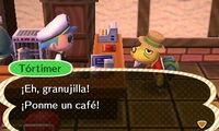 Tórtimer pidiendo café en El Alpiste (New Leaf)