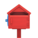 NH-House Customization-red wooden mailbox