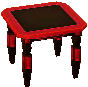 Exotic end table black and red