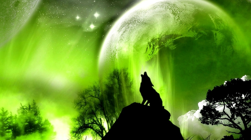 Green Outer Space Trees Animals Planets Moon Wolf 1366x768 Wallpaper Wall321 76