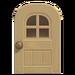 NH-House Customization-beige windowed door (round)
