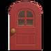 NH-House Customization-red windowed door (round)