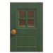 NH-House Customization-green windowed door (square)
