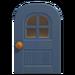NH-House Customization-blue windowed door (round)