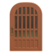 NH-House Customization-brown latticework door (round)