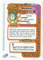 Back of Bluebear's e-reader card