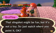 Broffina Noting the Player Holding a Slingshot