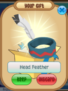 Teal head feather
