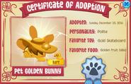 Adoption-Certificate Pet-Golden-Bunny