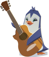 Penguin with guitar