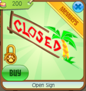 Open sign closed