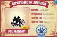 Adoption cert nonmember Pet Phantom