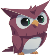 Purple owl graphic