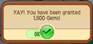 Gems granted popup