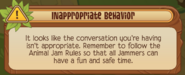 Chat inappropriate behavior popup