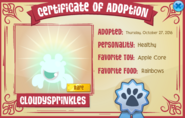 Adoption cert named Rare Pet Phantom