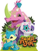 Animal Jam Light Up Friends Twinkle Panda, Lucky Lynx, and Rhino Stand