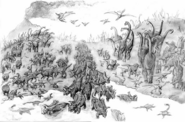 Disney Dinosaur gathering together concept