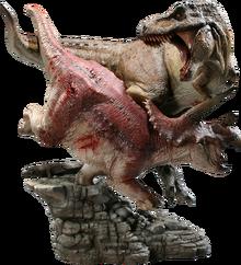 ''Tyrannosaurus'' battling ''Triceratops''